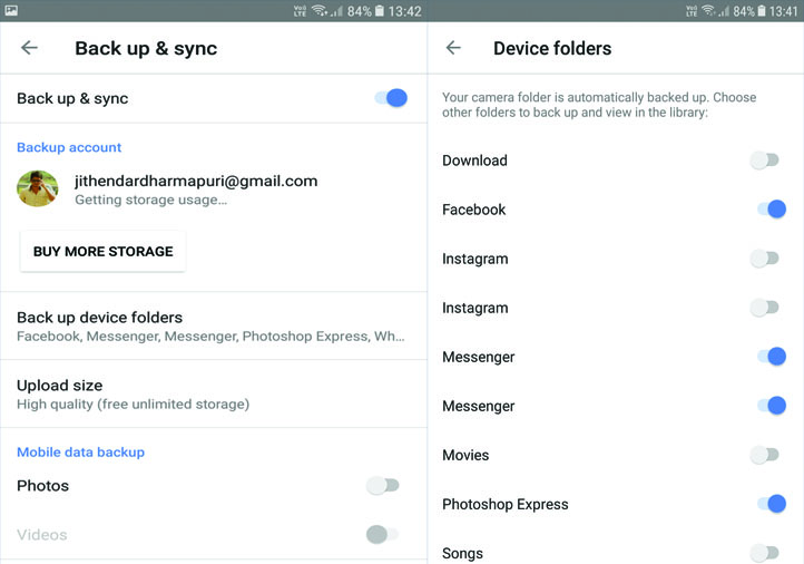 Google Photos Back up and sync setting