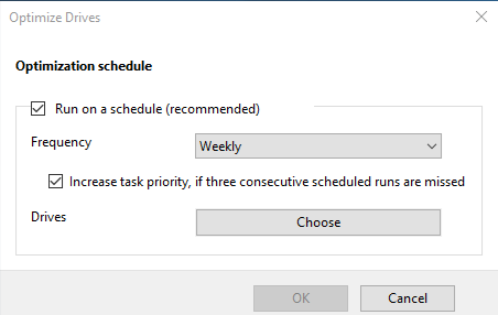 Schedule Disk Defragment in Windows 10