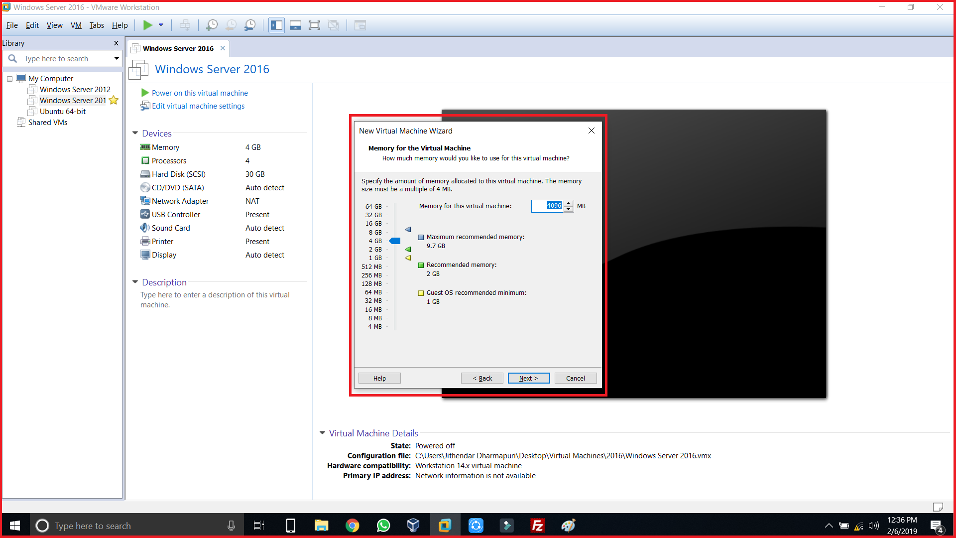 Adjust the memory size of the Virtual Machine 1GB to 64GB
