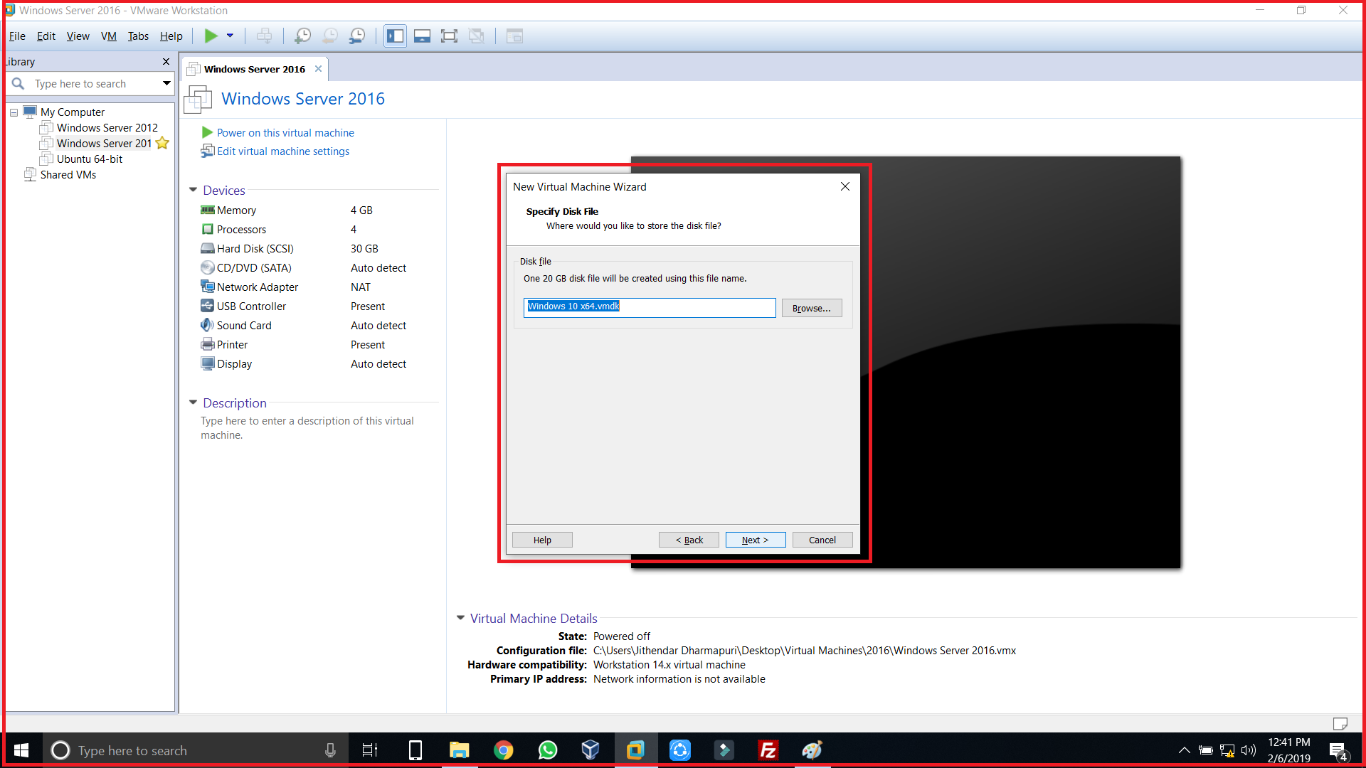 Specify disk file for your Virtual machine