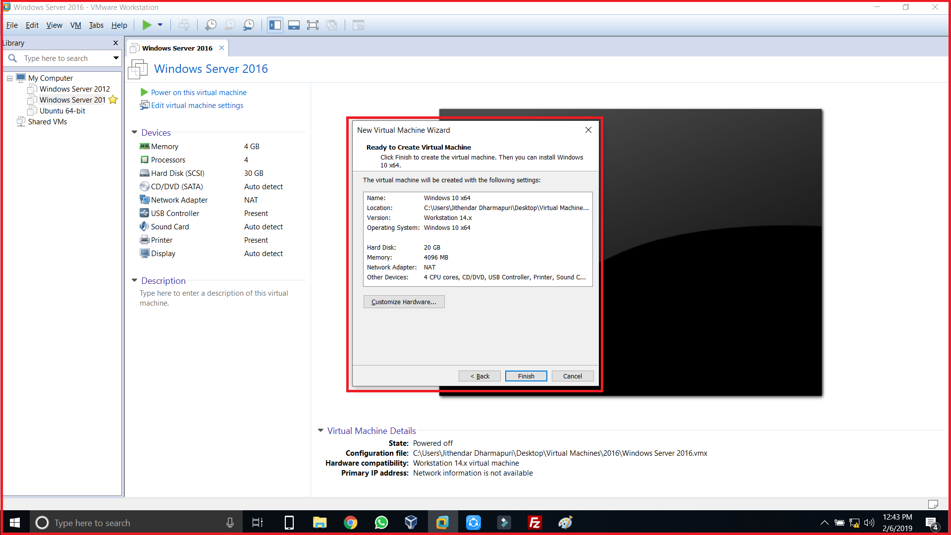 Now you are ready to create virtual machine