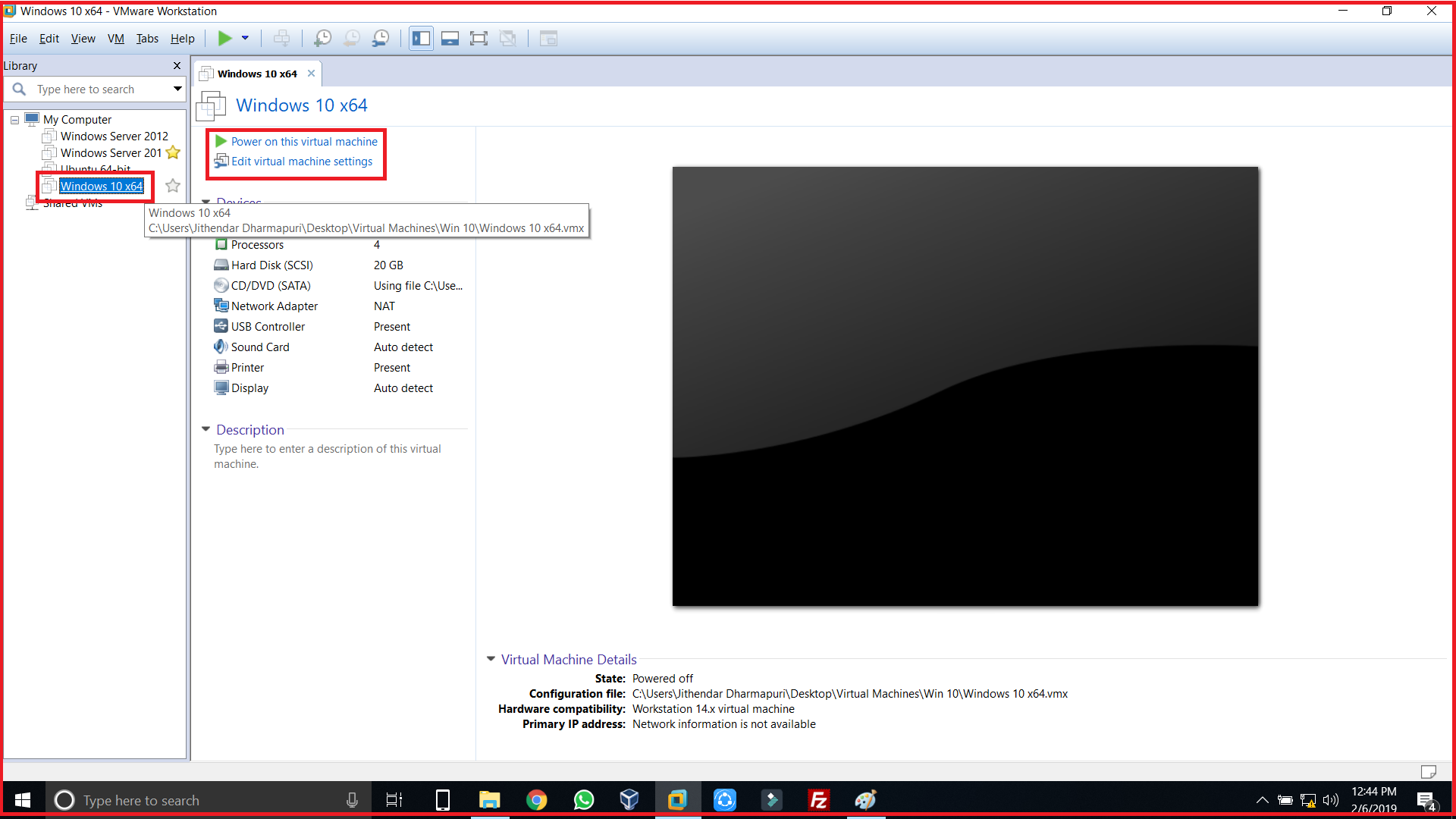 select virtual machine and click power on this virtual machine