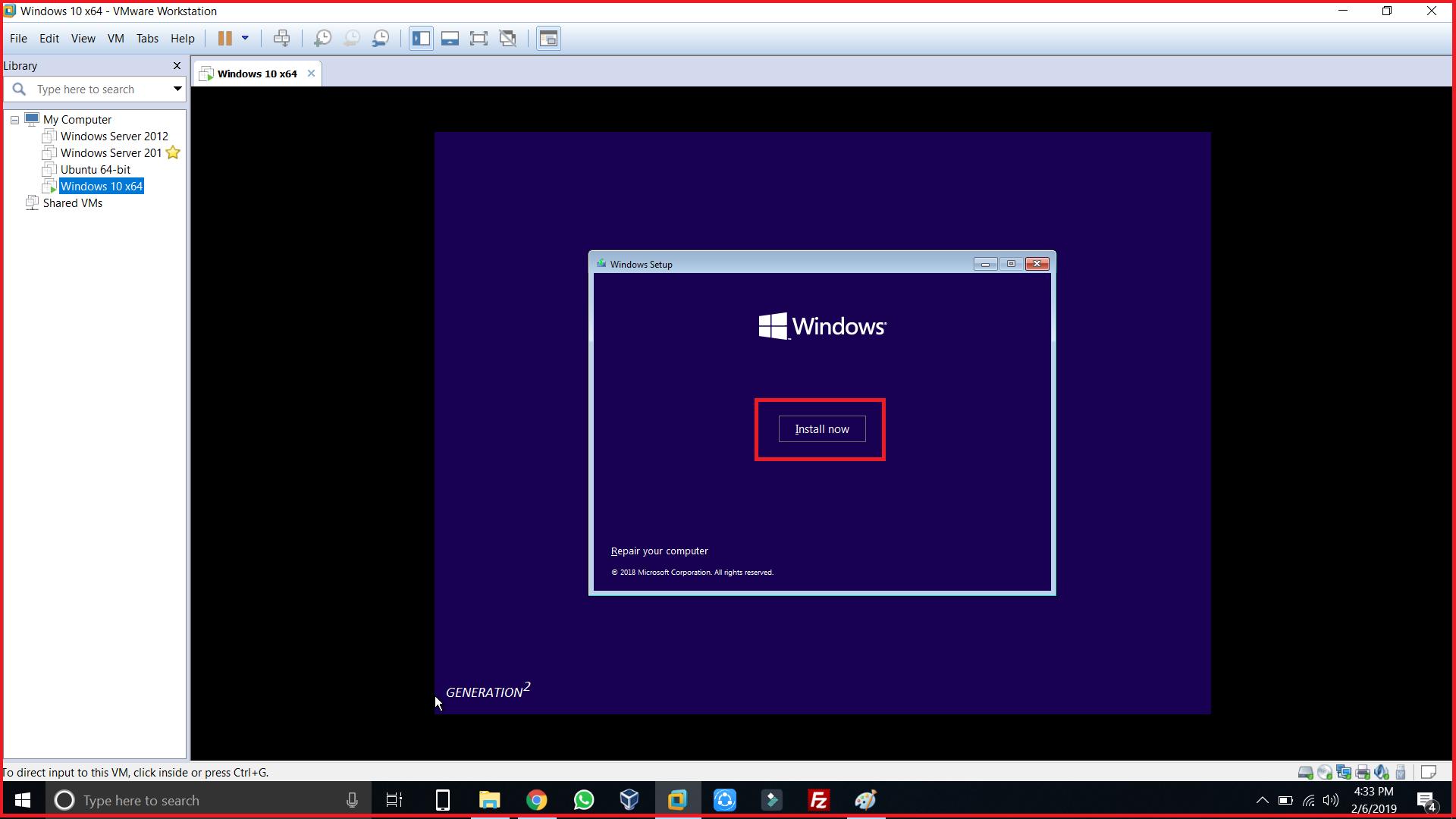 Windows install now