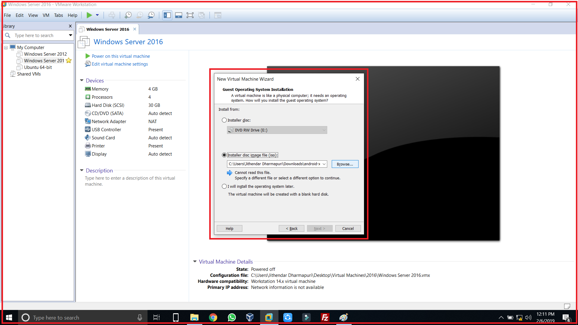 Select windows 10 iso file for installing windows 10