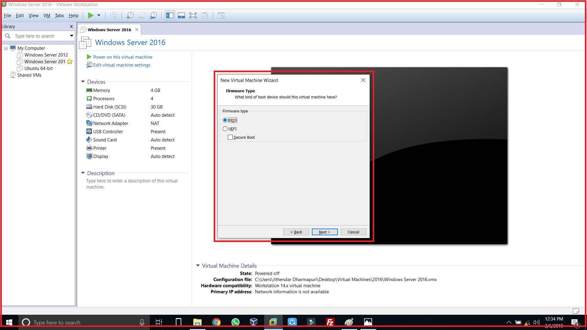 firmware type select bios or UEFI