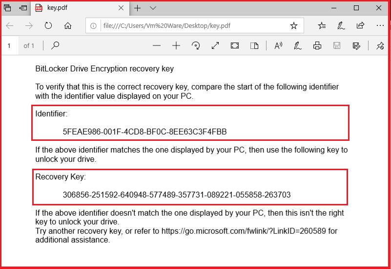 What is Bitlocker Recovery Key