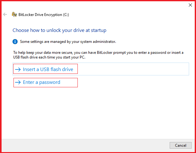 Choose how to unlock your drive at startup