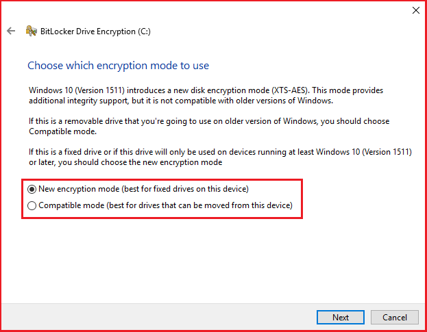 Choose which encryption mode to use