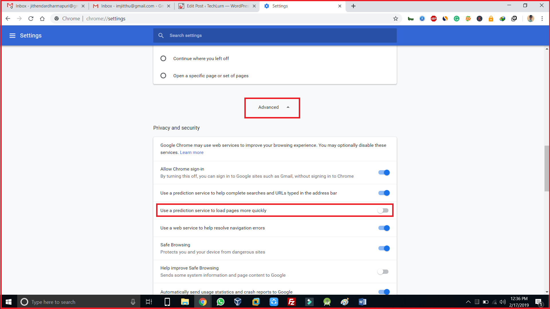 Use a prediction service to load pages more quicklyin chrome settings
