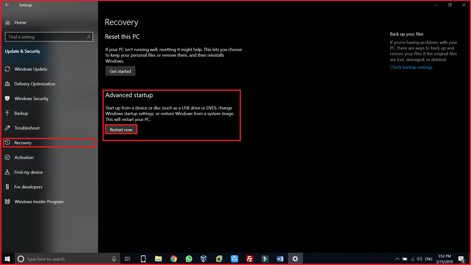 WIndows 10 settings recovery options