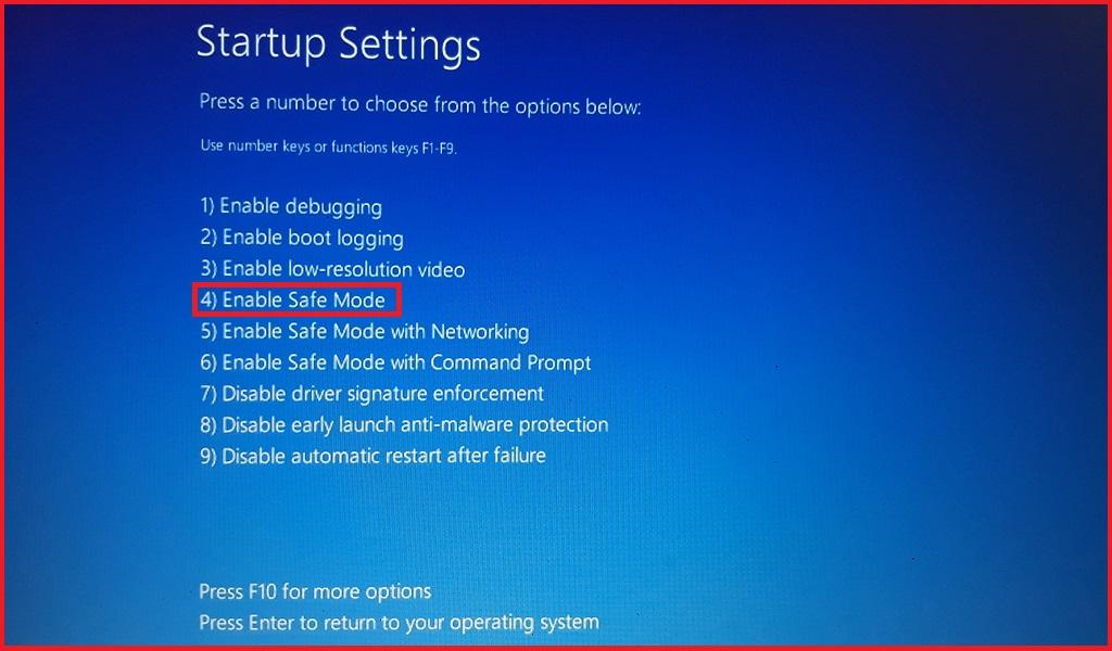 Windows 10 Startup Options