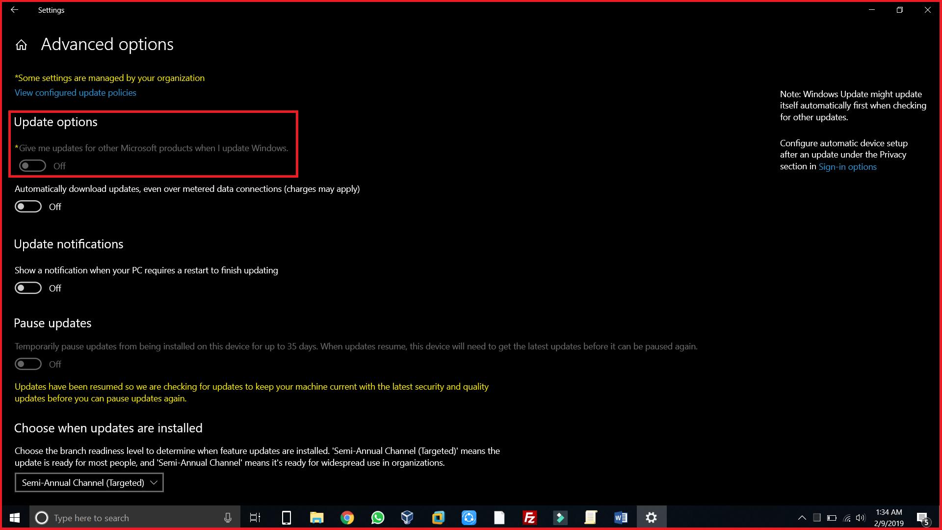 Windows Automatic Update Settings