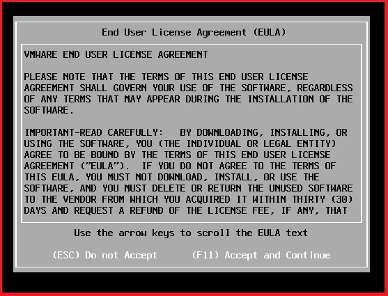 ESXi End user license and agreement