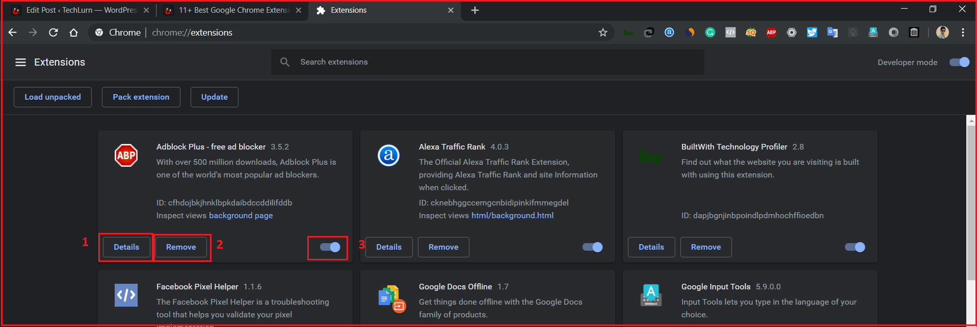Chrome extensions manager