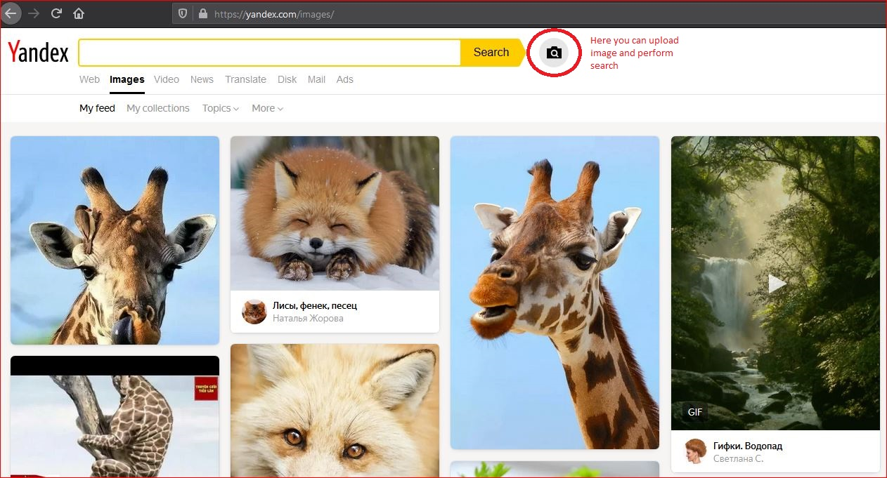 Yandex web based reverse image search tool for PCs and mobiles