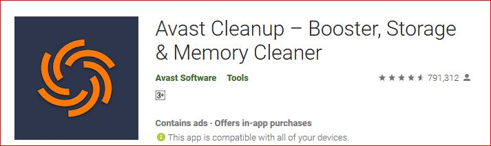 Avast cleanup booster storage and memory cleaner