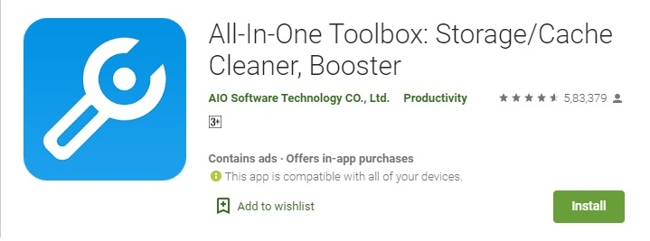 All In One Toolbox Storage Cache Cleaner and RAM Speed Booster