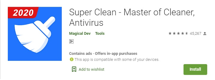 Super Cleaner Antivirus for Android Cleaning Speed Booster App