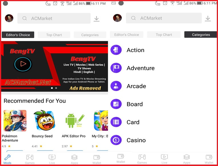 ACMarket is the home of thousands of games and applications designed for Android devices. Also, it is composed of a number of third party apps with many new features.