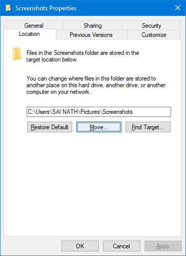 Change Default Screenshot Folder in Windows 10
