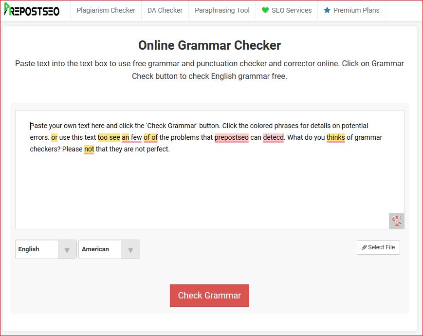 Prepostseo online Grammer Checker tool